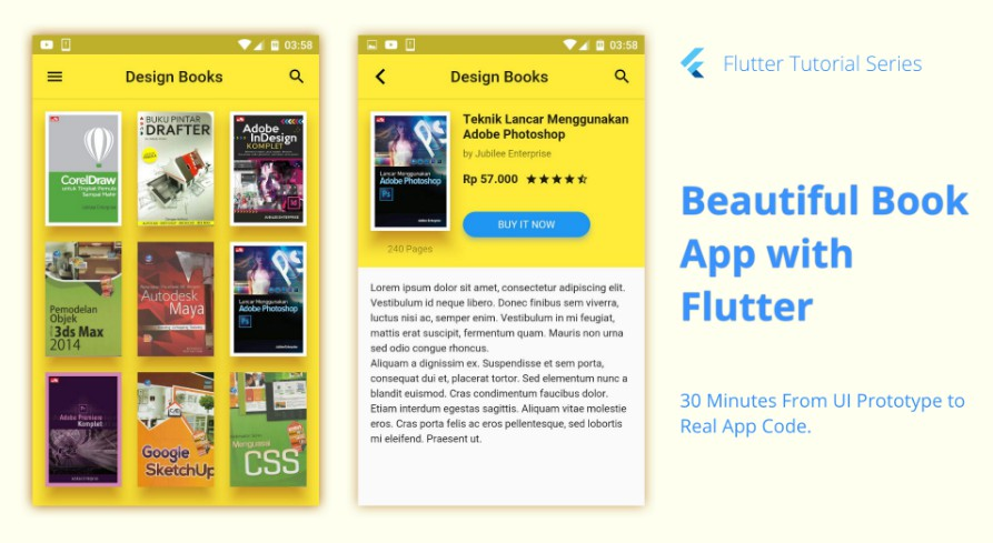 A Flutter project of book app UI from prototype originally