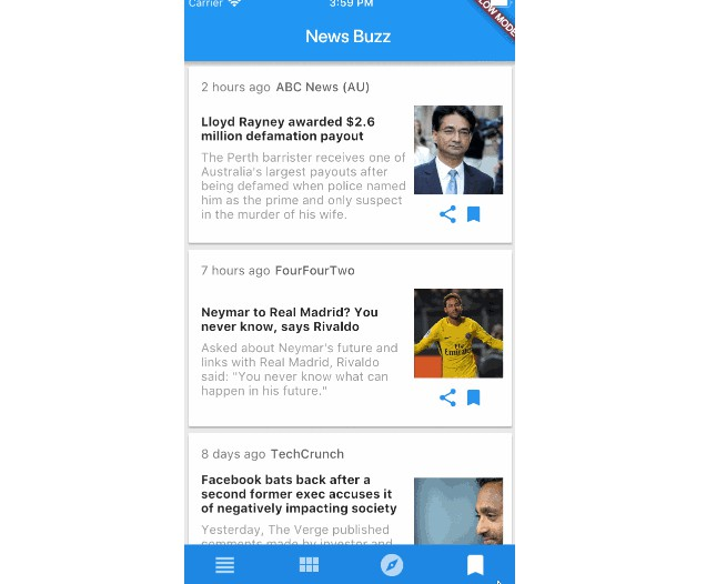 Firebase backed news reader using News API