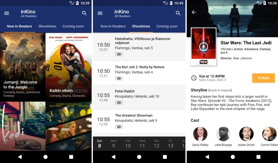 A cross platform movie and showtime browser for Finnkino cinemas with Flutter