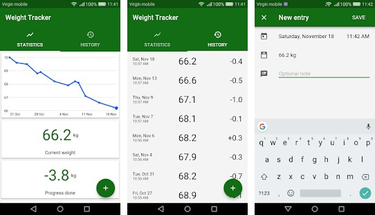 Simple application for tracking weight