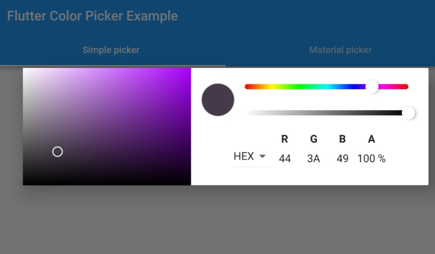 A HSV color picker inspired by chrome devtools and a material color picker