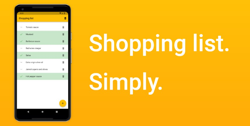 A simple application for easy shopping list making