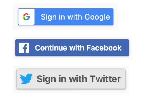 Flutter buttons for Facebook and Twitter sign in