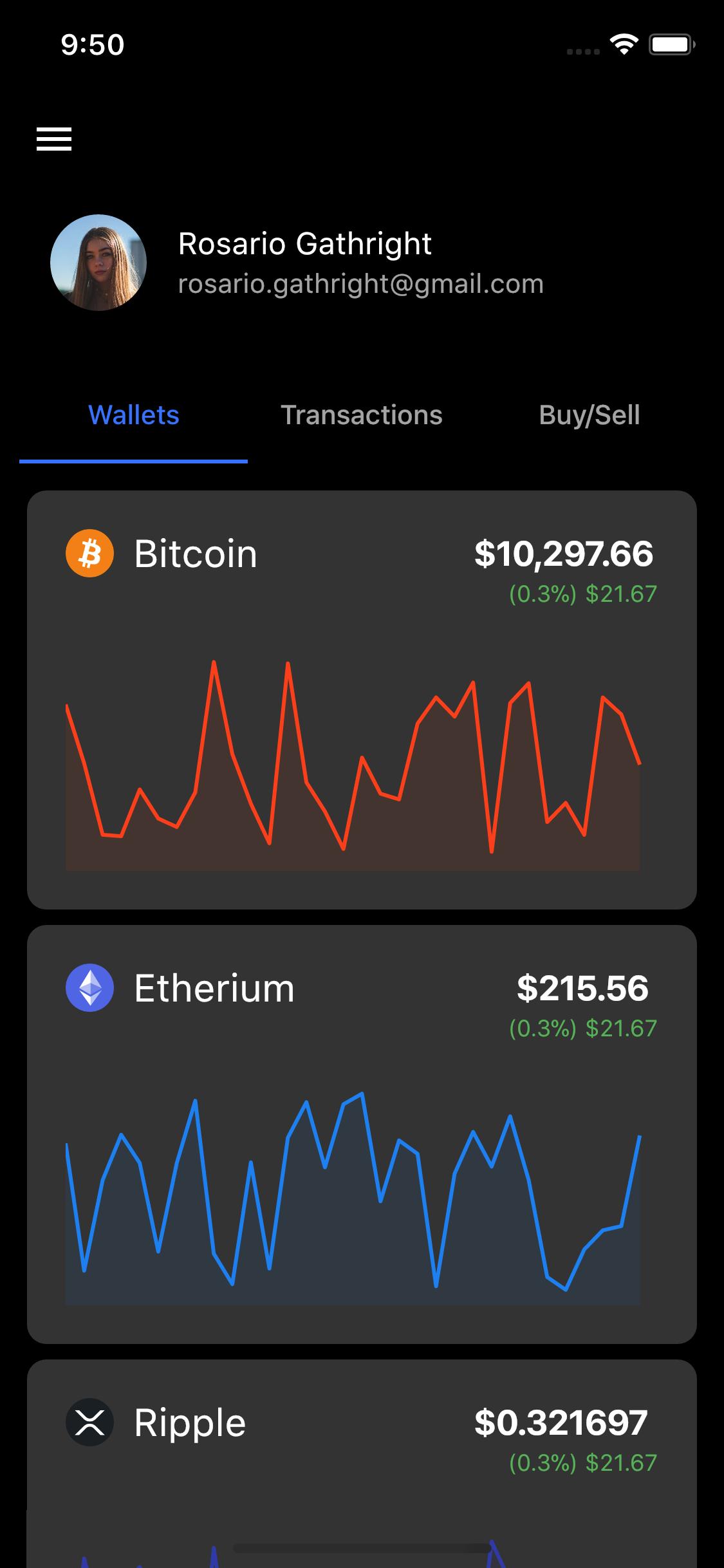 Flutter representation of a Crypto app Concept