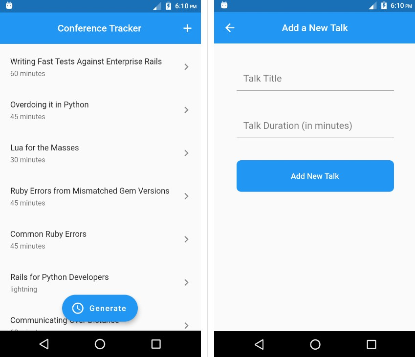 Conference Tracker Management app written in Flutter