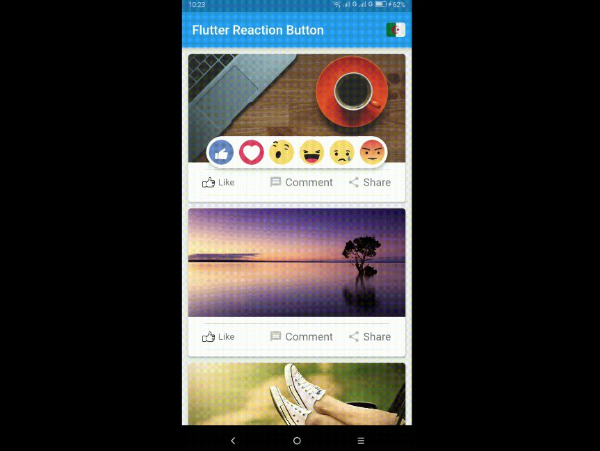 Flutter button reaction it is fully customizable widget