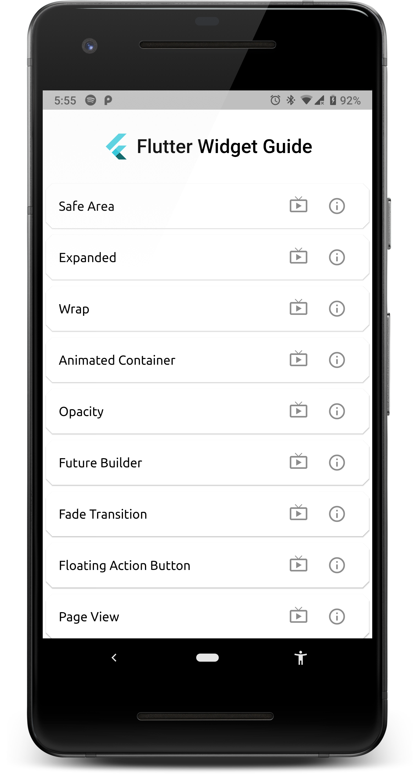 A flutter appliction listing all the widgets covered in