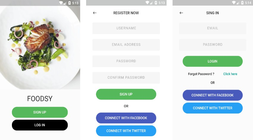 A Food app built with Flutter