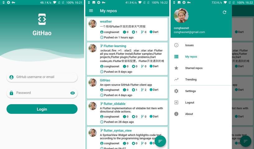 An open-source GitHub Flutter client app