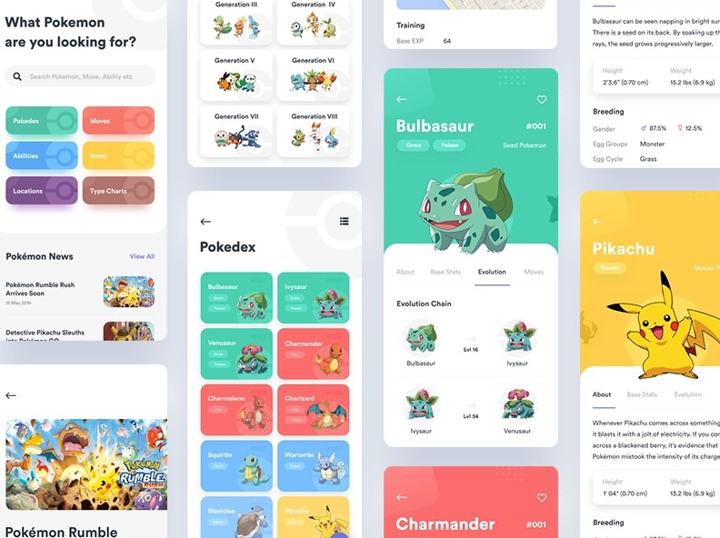 A digital encyclopedia that categorizes Pokemon with flutter
