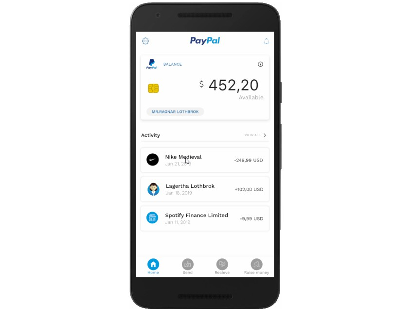 Paypal Redesign in a Flutter App