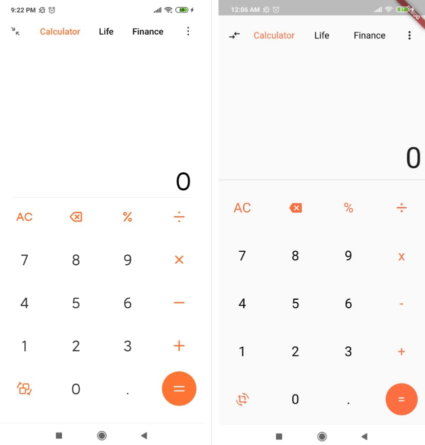 Xiaomi Calculator Design Flutter