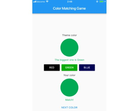 A Crossplatform Color Matching Game made with Flutter