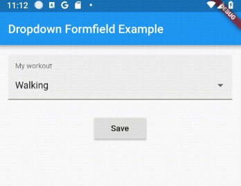 A dropdown form field using a dropdown button inside a form field