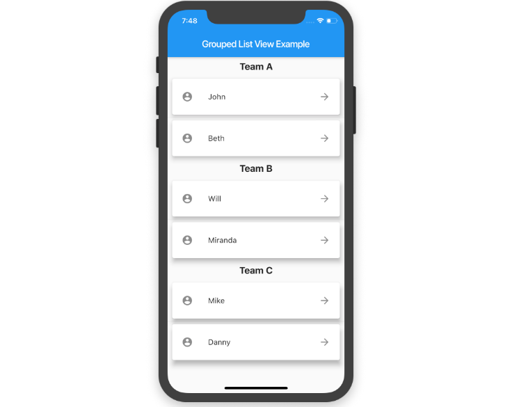 A Flutter ListView in which items can be grouped into sections