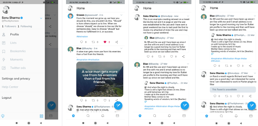 Twitter clone using flutter framework