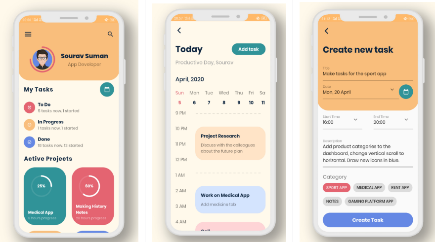 A beautiful task planner app design made in flutter