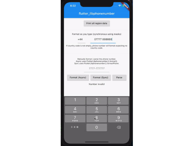 Allow for asynchronous and synchronous formatting of phone numbers in Flutter